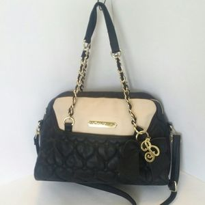 Betsy Johnson Quilted Hearts Black Satchel Bag